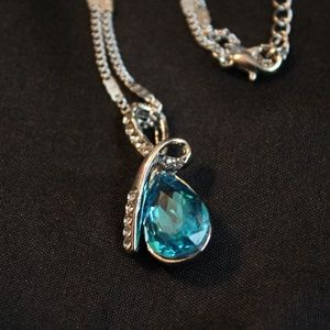 Blue crystal necklace